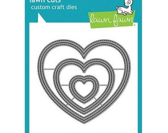 Lawn Fawn - Lawn Cuts - Dies - Outside In Stitched Heart Stackables