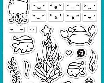 Lawn Fawn-Christmas Fishes-Clear Stamp Set-Preorder