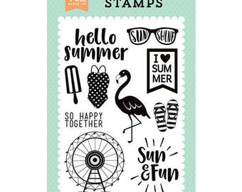 Echo Park - Summer Dreams Collection - Clear Acrylic Stamps - I Heart Summer