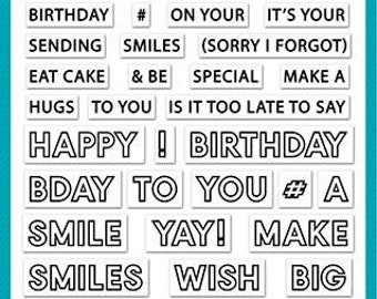 Lawn Fawn - offset sayings: birthday - clear stamp set - preorder