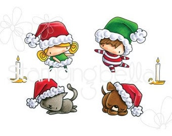 Stampingbella-Little Bits- Santa Kids And Pets- rubber stamps