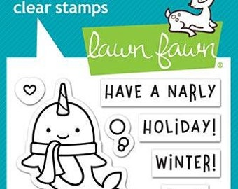 Lawn Fawn-Winter Narwhal-Clear Stamp Set-Preorder