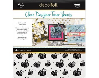 Therm O Web - iCraft - Fall - Deco Foil - 8.5 x 11 - Clear Designer Toner Sheets - Pumpkin Patch