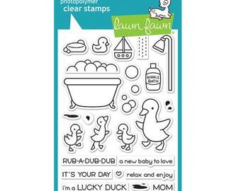 Lawn Fawn - Clear Acrylic Stamps - Rub-A-Dub-Dub