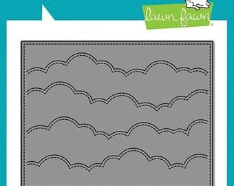 Lawn Fawn-puffy cloud backdrop: landscape die