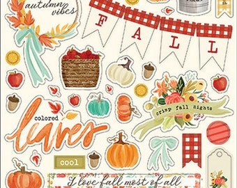 Carta Bella Paper - Fall Market Collection - Chipboard Stickers - Phrases