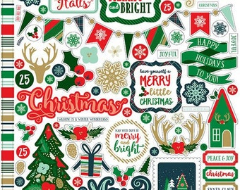 Echo Park Deck The halls Collection 12x12 Cardstock Stickers Combo