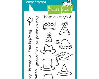 Lawn Fawn - Clear Photopolymer Stamps - Hats Off to You