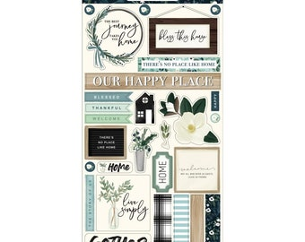 Carta Bella Paper - Home Again Collection - Chipboard Stickers - phrases