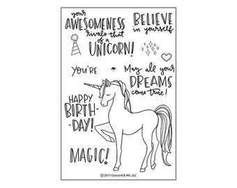 Concord and 9th - Clear Acrylic Stamps - Unicorn Awesomeness