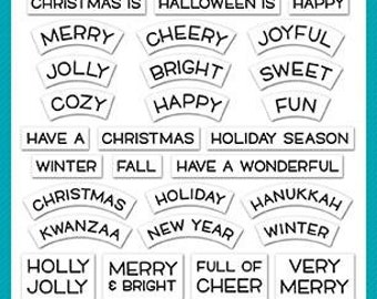 Lawn Fawn - Christmas - Clear Photopolymer Stamps - Reveal Wheel Holiday Sentiments
