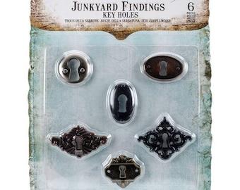 Prima Marketing Junkyard Findings Metal Embellishments- Key Holes-6-Pack
