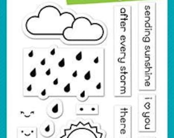 PREORDER-Lawn Fawn-Clear Acrylic Stamps-Rain Or Shine Before 'N After