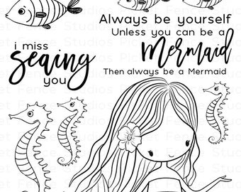 Picket Fence Studios- I AM A MERMAID- Clear Stamp Set