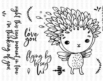 Picket Fence Studios- FLYING BY To SAY Hi- Clear Stamp Set