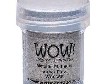 Wow! Embossing Powder Super Fine Metallic Platinum 15ml