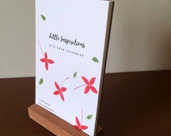 2018 Floral Desk Calendar with Teak Wood Stand, botanical illustration, flowers, inspirational, watercolor