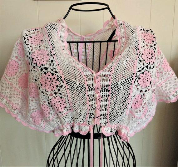 Handmade OOAK CROCHET BOLERO~ Pink & White Lacy Ja