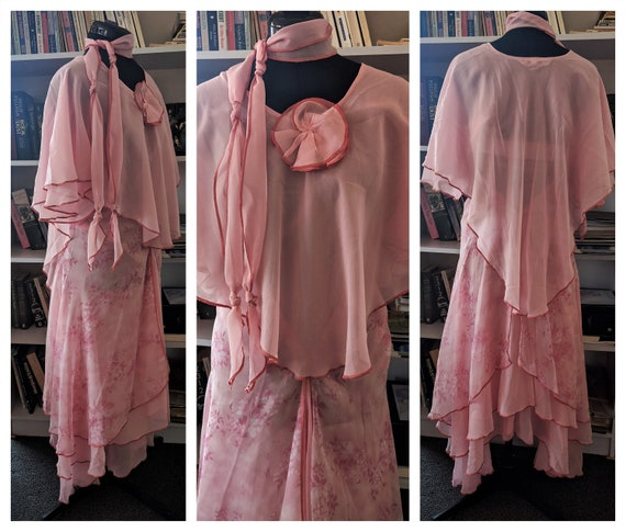 70s MERIVALE MAXI DRESS~Floaty Ethereal Pink Multi