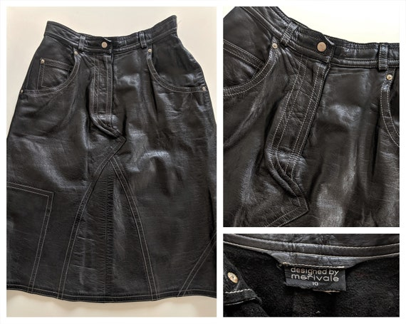 House of Merivale~BLACK LEATHER SKIRT~Iconic 1970s