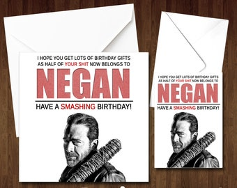 Walking dead card etsy birthday greeting card negan the walking dead lucille comical funny husband wife dad brother sister boyfriend girlfriend fun have a smashing m4hsunfo
