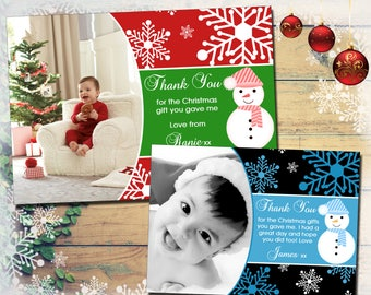 Green Cute Snowman Personalised Christmas Thank You Cards