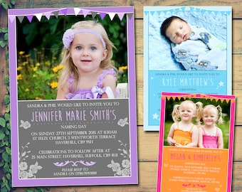 twin christening invitation etsy