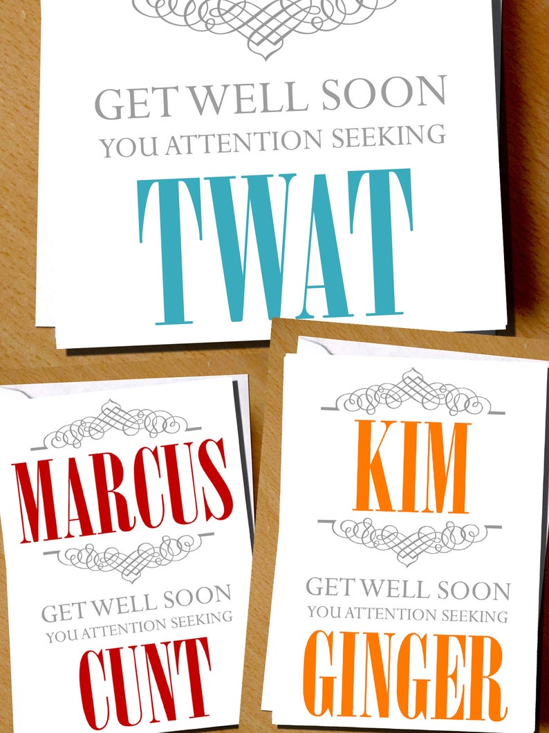 Personalised Insult Get Well Soon Card Funny Insulting Get Etsy