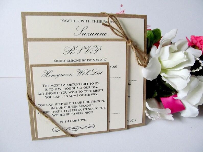 Personalised Wedding Invitations invites Postcard Rustic Vintage Abroad