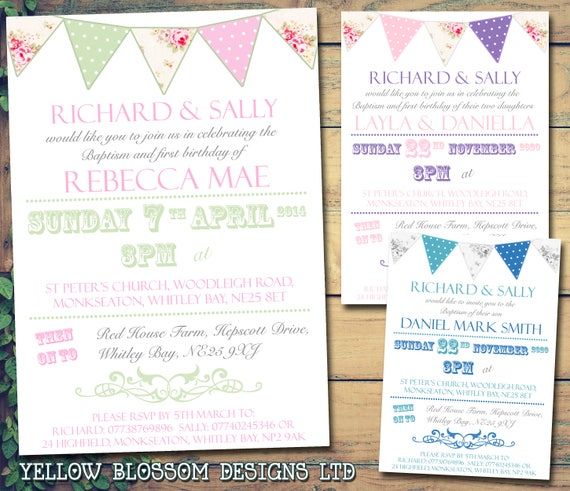 10 Personalised Christening Naming Day Baptism Invitations Vintage Chic Photo