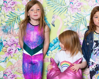 2030ec18356 Hot Pink and Blue Holographic Kids Unitard Perfect for Kids Gymnastics and  Dress Up