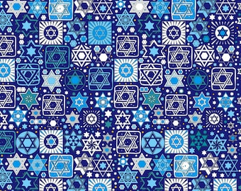 Tossed Stars Jewish Fabric on Navy Blue / Star of David / Sold in 1/2 Yd Increments / Multiple Yards Available