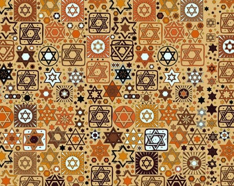 Tossed Stars Jewish Fabric on Beige / Star of David / Sold in 1/2 Yd Increments / Multiple Yards Available