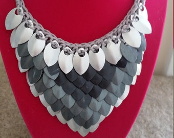 READY TO SHIP! Greyscale Scale Mail Necklace