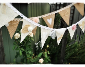Vintage Burlap and Lace Bunting