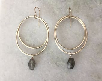 Double Hoop With Labradorite