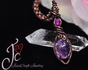 Amethyst and vivid pink lab created ruby wire wrapped pendant