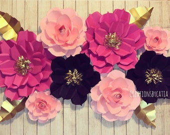 8a48375685 8 Piece Kate Spade Inspired Paper Flower Set | Bridal Shower Paper Flower  Backdrop | Nursery Paper Flower Decor | Beauty Room Decor
