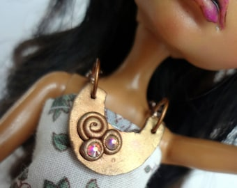 Copper Polymer Clay Doll Bib Necklace