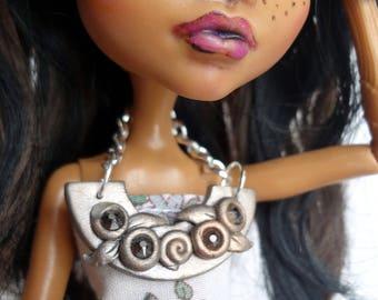 Silver Polymer Clay Doll Bib Necklace