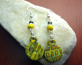 Yellow Silver Wire Wrapped Geometric Printed Polymer Clay Earrings