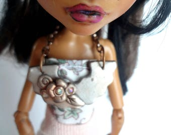 Silver and Copper Polymer Clay Doll Bib Necklace