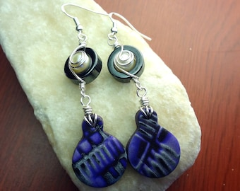 Purple, Black, and Silver Wire Wrapped Geometric Printed Polymer Clay Earrings