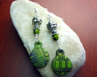 Green, and Silver Wire Wrapped Geometric Printed Polymer Clay Earrings