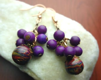 Purple, Copper, and Fushia Cluster Polymer Clay Earrings