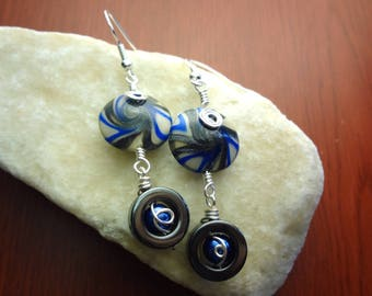 Blue, White, and Silver Wire Wrapped Swirl Lentil Polymer Clay Earrings