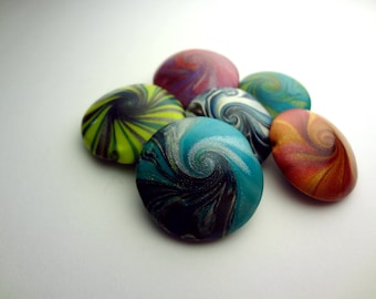 Sample Collection of Pendant Sized Polymer Clay Swirl Lentil Beads- 6 piece