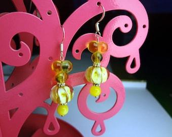 Yellow Lampwork Glass Drop Earrings
