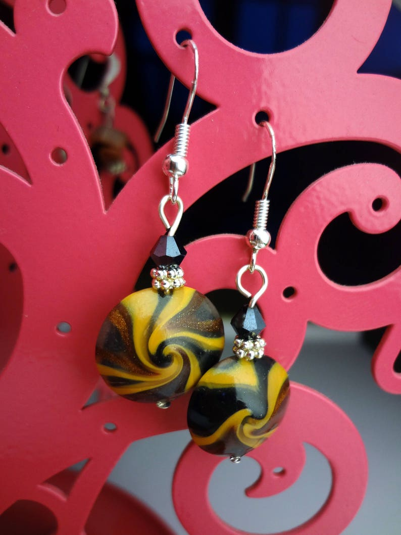 Black and Mustard Yellow Swirl Lentil Polymer Clay Earrings Brown