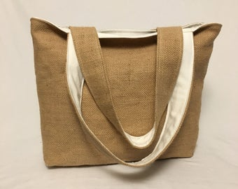Burlap Tote Bag - Coffee Sack Purse - Large Purse - Upcycled Tote - Vegan Purse - Coffee Lovers - Farmers Market Bag - Gift for Her